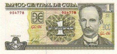 Куба. Бумажные деньги. 2011. 1 песо CUP. Хосе Марти. Тип: 1997. Серия/№: . Подпись: . Catalog #. PRESS (UNC)