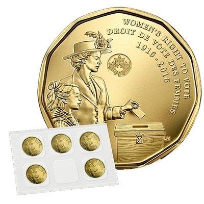 Канада. Елизавета II. 2016. 1 доллар. Набор из 5 монет. 1916-2016. 100 лет права голосования женщин. Ni-Cu. KM#. UNC