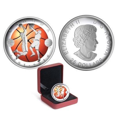 Канада. Елизавета II. 2016. 25 долларов. 1891-2016. 125 лет изобретения баскетбола. 0.9999 Серебро 0.98875 Oz., ASW., 30.750 g., PROOF
