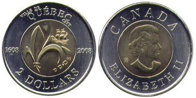 Канада. Елизавета II. 2008. 2 доллара. 1608-2008. 400 лет Квебеку. Ni, Cu, Al. 7.30 g., BU. UNC