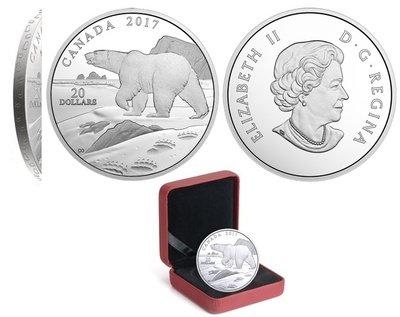 Канада. Елизавета II. 2017. 20 долларов. Серия: Впечатление природой. #02. Белый медведь. 0.9999 Серебро 1.110 Oz., ASW., 31.390 g., PROOF PF60.