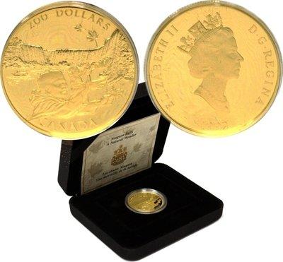 Канада. Елизавета II. 1992. 200 долларов. Ниагарский водопад. 0.916 Золото 0.6 Oz., AGW 17.13 g., KM# PROOF