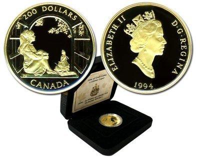 Канада. Елизавета II. 1994. 200 долларов. Рассказ про Энн Ширли, дом зелёных крыш. 0.916 Золото 0.6 Oz., AGW 17.13 g., KM# PROOF