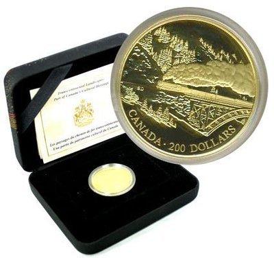 Канада. Елизавета II. 1996. 200 долларов. Канадское культурное наследие - Пейзаж Трансконтинентальной железной дороги. 0.916 Золото 0.6 Oz., AGW 17.13 g., KM# PROOF