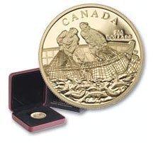 Канада. Елизавета II. 2007. 200 долларов. Серия: История торговли Канады. #03. Торговля рыбой. 0.916 Золото 0.6 Oz., AGW 17.13 g., KM# PROOF