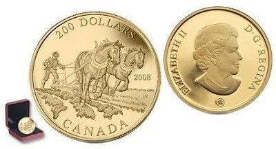 Канада. Елизавета II. 2008. 200 долларов. Серия: История торговли Канады. #04. Торговля сельскохозяйственной продукцией. 0.916 Золото 0.6 Oz., AGW 17.13 g., KM# PROOF