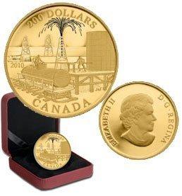 Канада. Елизавета II. 2010. 200 долларов. Серия: История торговли Канады. #06. Торговля нефтью. 0.916 Золото 0.6 Oz., AGW 17.13 g., KM# PROOF