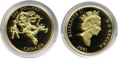 Канада. Елизавета II. 1991. 200 долларов. Хоккей - Национальная гордость. 0.916 Золото 0.6 Oz., AGW 17.13 g., KM# PROOF