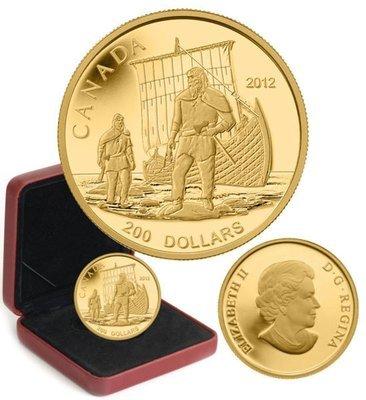 Канада. Елизавета II. 2012. 200 долларов. Серия: Великие иследователи Канады. #01. Викинги. 0.999 Золото 0.54 Oz., AGW 15.43 g., KM# PROOF