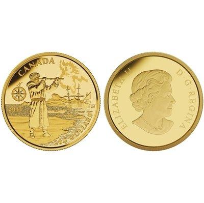 Канада. Елизавета II. 2015. 200 долларов. Серия: Великие иследователи Канады. #04. Генри Хадсон. 0.999 Золото 0.54 Oz., AGW 15.43 g., KM# PROOF