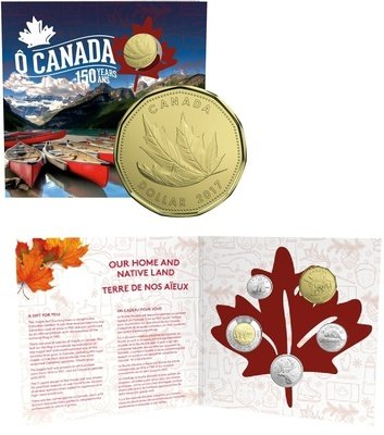Канада. Елизавета II. 2017. 1 доллар. Набор монет. Серия: О, Канада! #24. 150 лет Конфедерации Канады - Кленовый лист. Ni, Fe. KM#. PROOF.