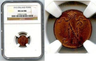 Российская Империя. Финляндия. Николай II. 1915. 1 пенни. Тип: 1895. Медь. 1.28 g. KM#13. MS 64 RB NGC