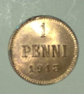 Российская Империя. Финляндия. Николай II. 1913. 1 пенни. Тип: 1895. Медь. 1.28 g., BU. KM#13. AU