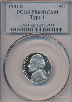 США. 1981. 5 центов. S. Джефферсон. Тип: 1. Cu-Ni 5.0 g., KM#A195. PROOF. PCGS PF69 DCAM