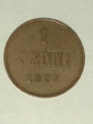 Российская Империя. Финляндия. Николай II. 1907. 1 пенни. Тип: 1895. Медь. 1.28 g. KM#13. AU