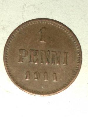 Российская Империя. Финляндия. Николай II. 1911. 1 пенни. Тип: 1895. Медь. 1.28 g. KM#13. AU