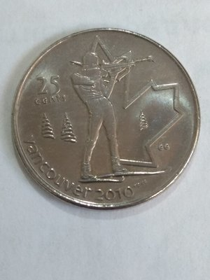 Канада. Елизавета II. 2007. 25 центов. 2010 Зимние Олимпийские Игры в Ванкувере #04. Биатлон. Fe-Ni 4.430 g., KM#685. XF