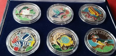 Cuba. 1996. Set of 6 coins. 20 pesos. Series: Fauna of the Caribbean Sea. 0.999 Silver. 11.9094 Oz ASW. 62.20g* 6 coin. KM#170. PROOF. Mintage: 585