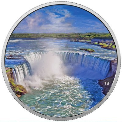 Канада. Елизавета II. 2018. 30 долларов. Фейерверки над водопадом. 0.9999 Серебро 2.018 Oz., ASW., 62.69 g., PROOF / Colored
