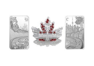 Канада. Елизавета II. 2018. Набор из трёх монет. Канада - устремлённая в будущее. 0.9999 Серебро 3.5482 Oz., ASW., 110.35 g. PROOF