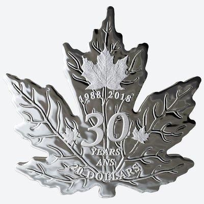 Канада. Елизавета II. 2018. 20 долларов. 30 лет серебряному Канадскому кленовому листу. 0.9999 Серебро 1.0129 Oz., ASW., 31.5 g. PROOF