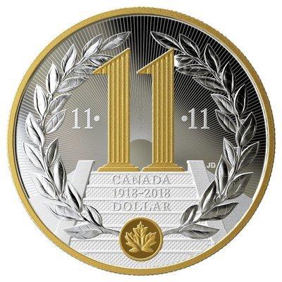 Канада. Елизавета II. 2018. 1 доллар. 11.11.1918-2018. 100 лет окончания первый мировой войны. 0.999 Серебро 0.745 Oz. ASW., 23.170 g., KM#. PROOF