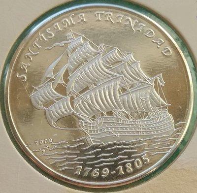 Cuba. 2000. 10 pesos. 1769-1805. Ship Santísima Trinidad. 0.999 Silver. 0.4787 Oz ASW. 15.00g. PROOF. KM#758. Mintage: 2,500