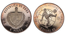 Cuba. 1981. 5 pesos. Series: 12th World Cup, Spain '82. Soccer. 0.999 Silver. 0.3229 Oz ASW. 12.0g. KM#77. PROOF