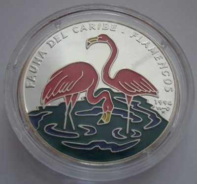 Cuba. 1994. 10 pesos. Series: Fauna of the Caribbean Sea. - #01. Flamingo. 0.999 Silver. 0.6382 Oz ASW. 20.00 g. KM#442.1. PROOF - Colored.