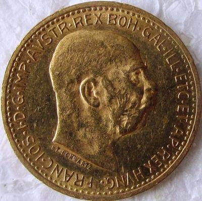 Империя Австро-Венгрия. Франц Иосиф I. 1909. 10 крон. 0.917 Золото. 0.10025 Oz., AGW 3.4 g., KM#2816. AU. Mintage: 192,135