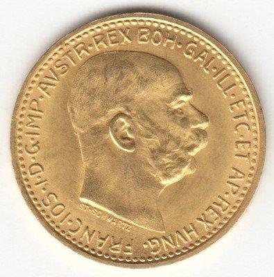 Империя Австро-Венгрия. Франц Иосиф I. 1912. 10 крон. 0.917 Золото. 0.10025 Oz., AGW 3.4 g., KM#2816. aUNC
