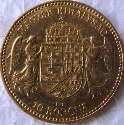 Империя Австро-Венгрия. Королевство Венгрия. Франц Иосиф I. 1903. 10 крон. 0.917 Золото. 0.10025 Oz., AGW 3.4 g., KM#485. AU. Mintage: 228,000