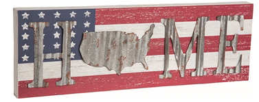 Wooden USA Flag Sign With Metal Home Letters 'O' Is Shaped As U.S.