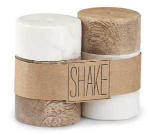 Wood And Marble Salt And Pepper Shaker Set