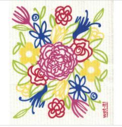 Multicolored Flower Bamboo Cloth Scrubber