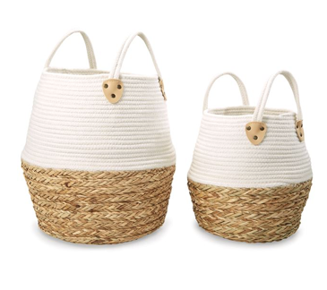 Two Toned Cotton And Straw Basket Set