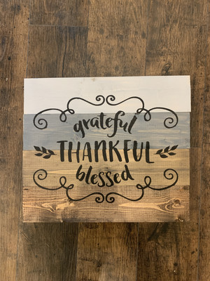 TPG Grateful Thankful Blessed Wood Sign