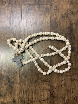 Beads With Marble Cross White