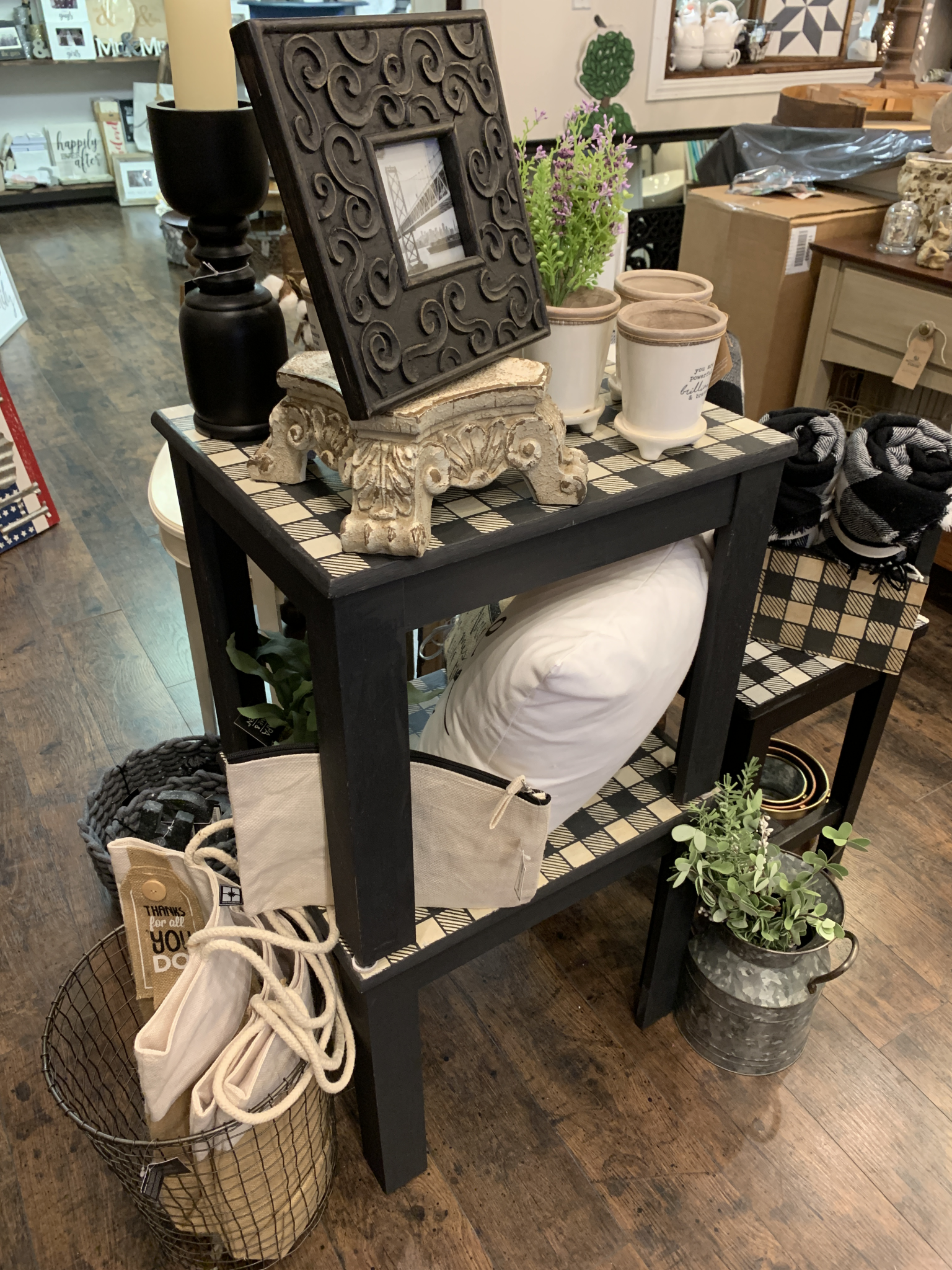 OLG Pair Of Buffalo Top Black Side Tables olg26