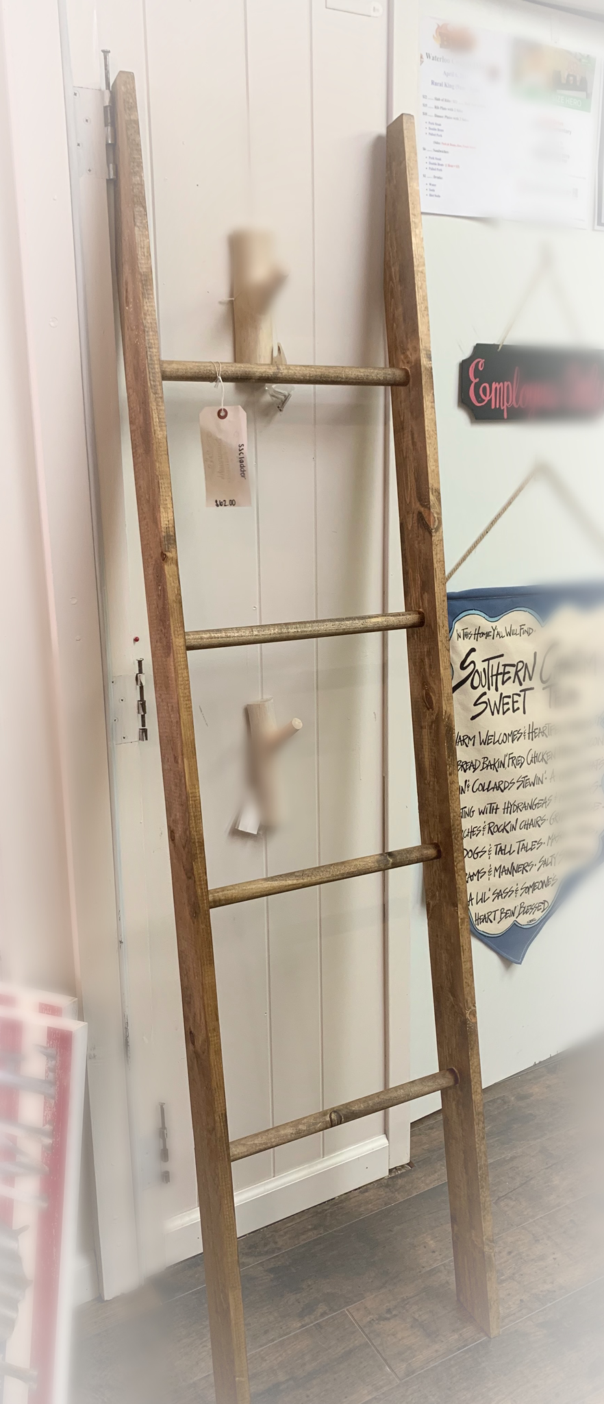 Wooden Ladder Blanket Holder sscladder