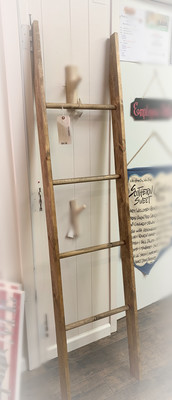 Wooden Ladder Blanket Holder