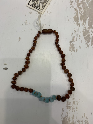Baby Teether Necklace Amazonite 13 Inch