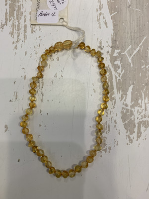 Baby Teether Necklace Baltic Amber 12 Inch
