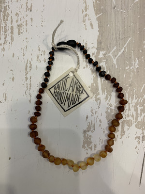 Baby Teether Necklace Baltic Amber Ombre 13 Inch