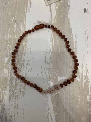 Baby Teether Necklace Baltic Amber Rose 13 Inch