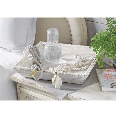 Beaded Wood Tray White Washed Square