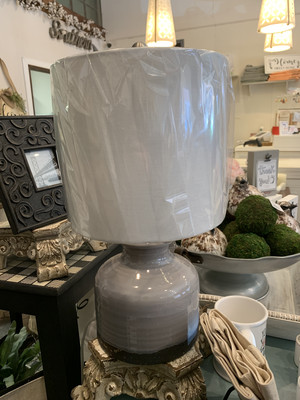 Kayla Blue Glass Base Lamp With White Lampshade