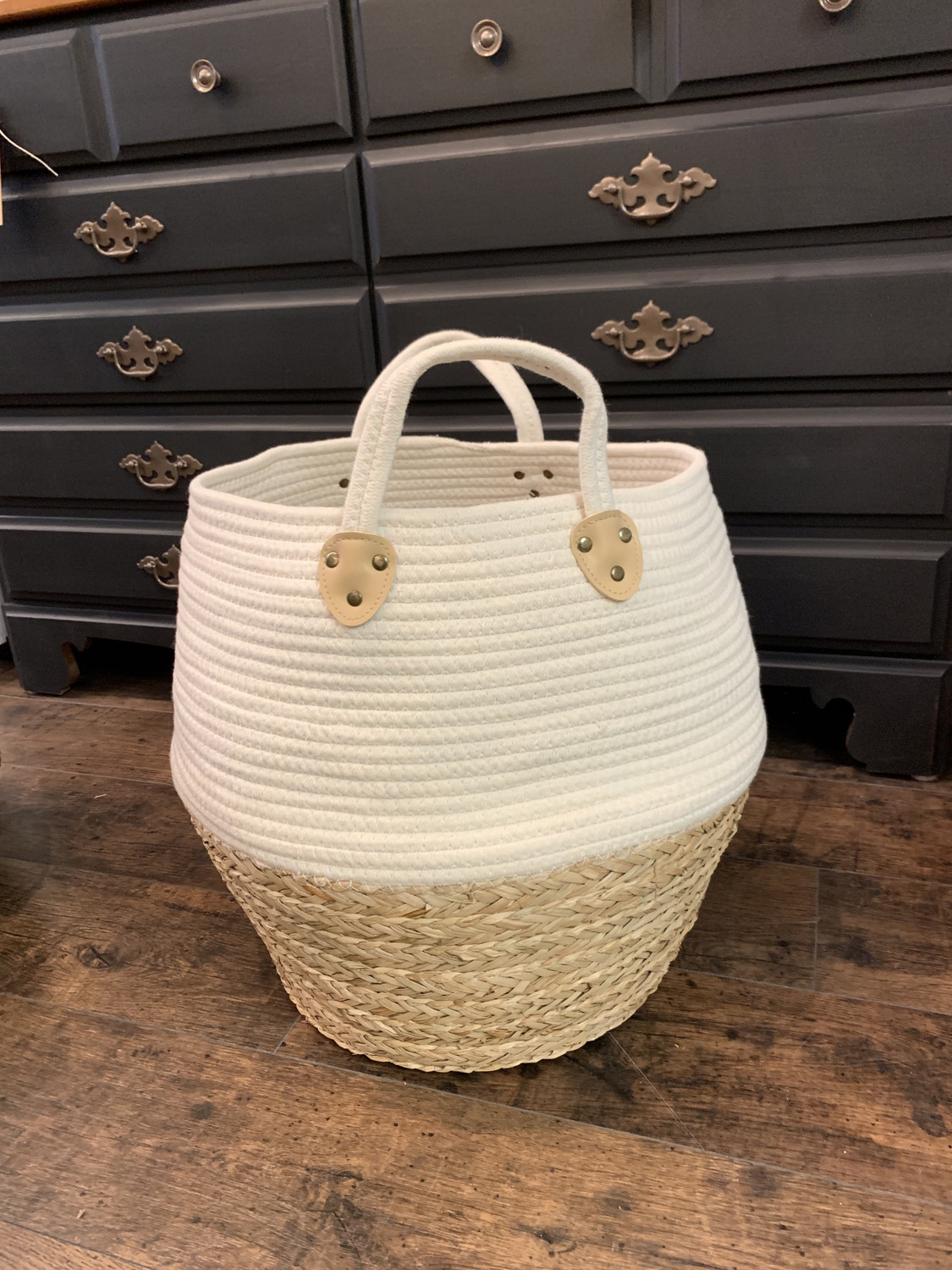 Large Seagrass And Woven Fabric Basket With Handles