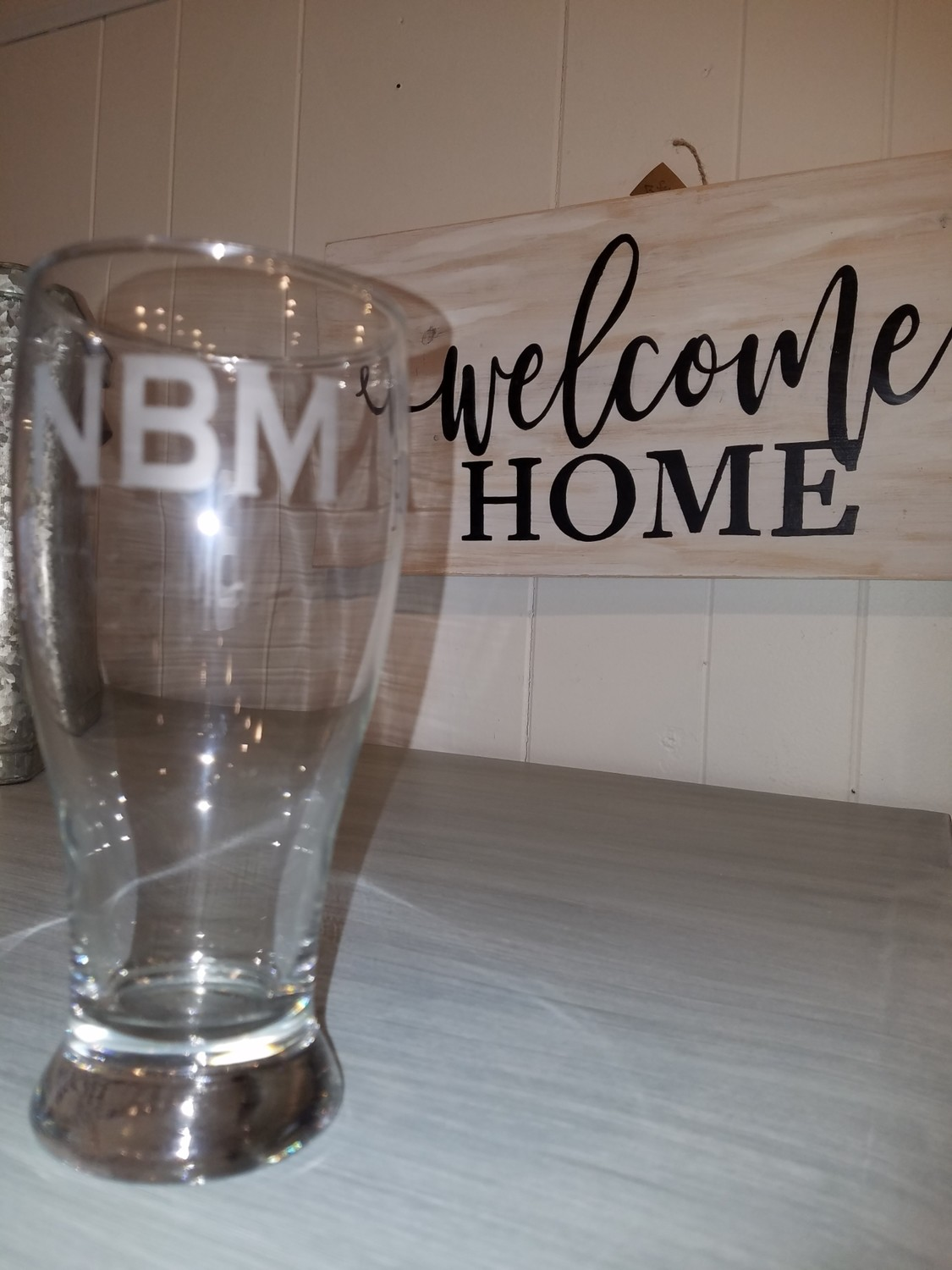Etched Beer Glass