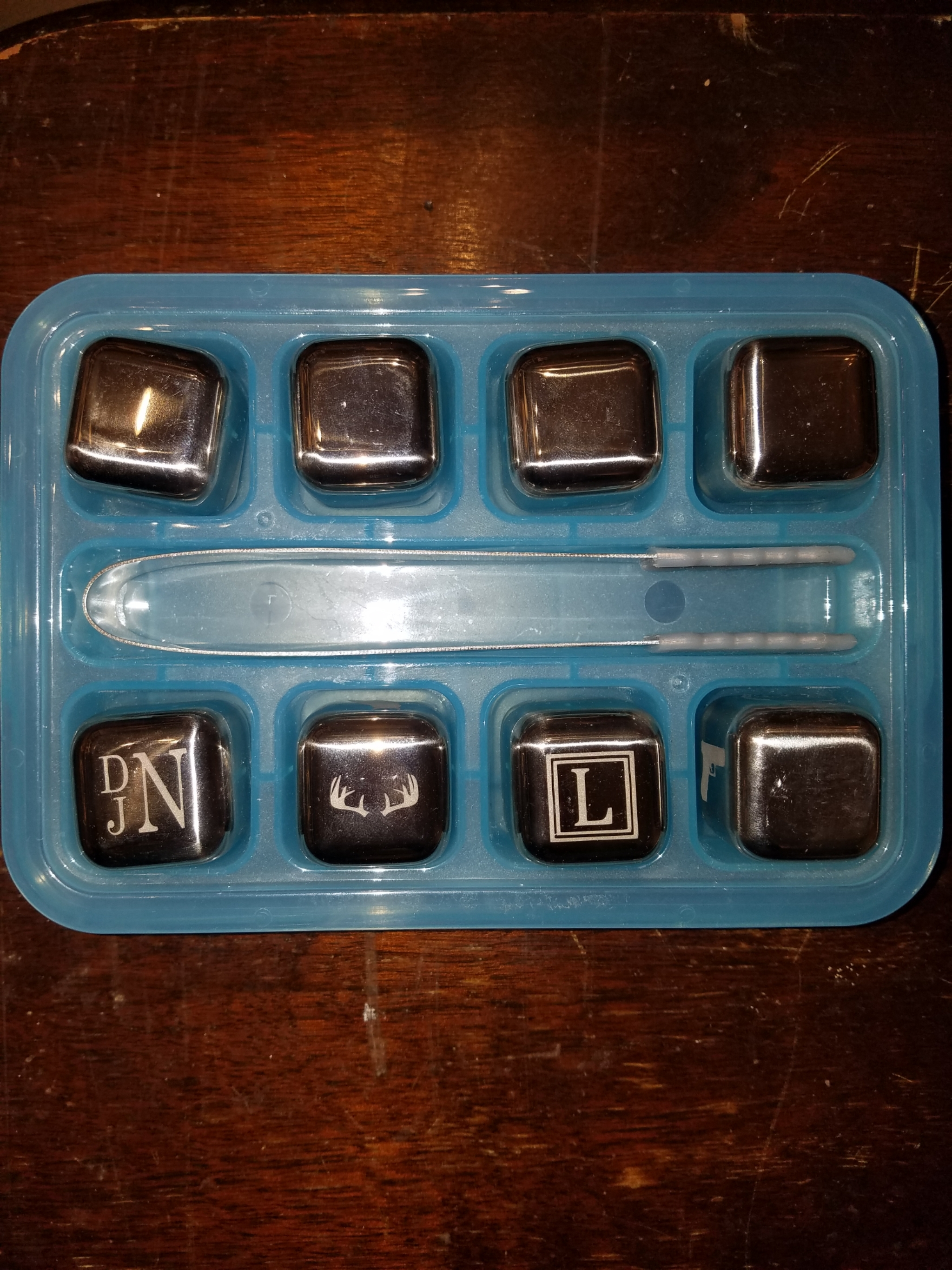 Etched Silver Ice Cube Set Of 8 etchice